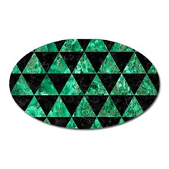 Triangle3 Black Marble & Green Marble Magnet (oval) by trendistuff