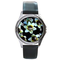 Light Blue Flowers On A Black Background Round Metal Watches by Costasonlineshop