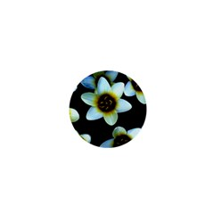 Light Blue Flowers On A Black Background 1  Mini Buttons by Costasonlineshop