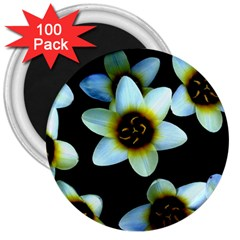 Light Blue Flowers On A Black Background 3  Magnets (100 Pack) by Costasonlineshop