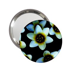 Light Blue Flowers On A Black Background 2 25  Handbag Mirrors by Costasonlineshop