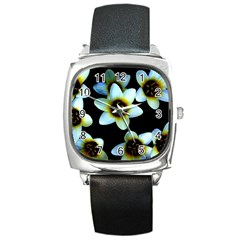 Light Blue Flowers On A Black Background Square Metal Watches
