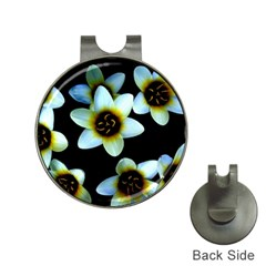 Light Blue Flowers On A Black Background Hat Clips With Golf Markers