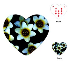 Light Blue Flowers On A Black Background Playing Cards (heart)  by Costasonlineshop
