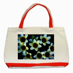 Light Blue Flowers On A Black Background Classic Tote Bag (red)