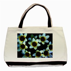 Light Blue Flowers On A Black Background Basic Tote Bag (two Sides)  by Costasonlineshop