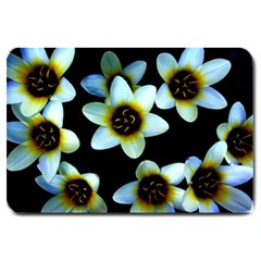 Light Blue Flowers On A Black Background Large Doormat