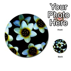 Light Blue Flowers On A Black Background Multi Purpose Cards (round)  by Costasonlineshop