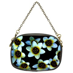 Light Blue Flowers On A Black Background Chain Purses (two Sides)