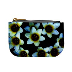 Light Blue Flowers On A Black Background Mini Coin Purses by Costasonlineshop