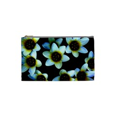 Light Blue Flowers On A Black Background Cosmetic Bag (small)