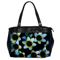 Light Blue Flowers On A Black Background Office Handbags by Costasonlineshop