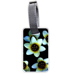 Light Blue Flowers On A Black Background Luggage Tags (one Side)  by Costasonlineshop
