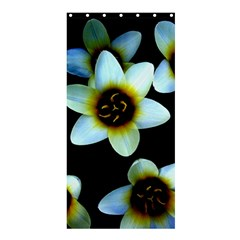 Light Blue Flowers On A Black Background Shower Curtain 36  X 72  (stall)