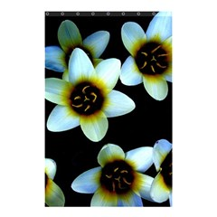 Light Blue Flowers On A Black Background Shower Curtain 48  X 72  (small)  by Costasonlineshop