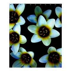 Light Blue Flowers On A Black Background Shower Curtain 60  X 72  (medium)  by Costasonlineshop
