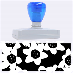 Light Blue Flowers On A Black Background Rubber Address Stamps (xl) by Costasonlineshop
