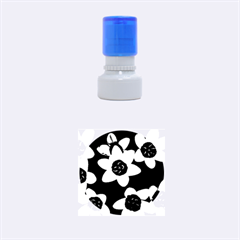 Light Blue Flowers On A Black Background Rubber Round Stamps (small) by Costasonlineshop
