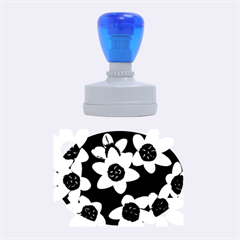 Light Blue Flowers On A Black Background Rubber Oval Stamps by Costasonlineshop