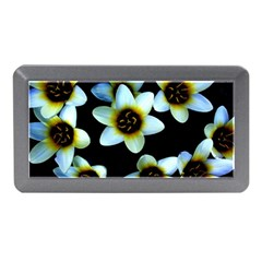 Light Blue Flowers On A Black Background Memory Card Reader (mini) by Costasonlineshop