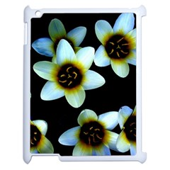 Light Blue Flowers On A Black Background Apple Ipad 2 Case (white)