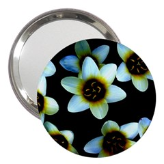 Light Blue Flowers On A Black Background 3  Handbag Mirrors