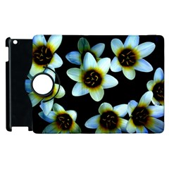 Light Blue Flowers On A Black Background Apple Ipad 3/4 Flip 360 Case