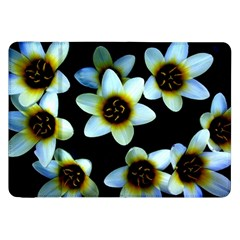 Light Blue Flowers On A Black Background Samsung Galaxy Tab 8 9  P7300 Flip Case by Costasonlineshop