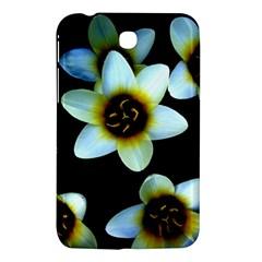 Light Blue Flowers On A Black Background Samsung Galaxy Tab 3 (7 ) P3200 Hardshell Case