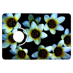 Light Blue Flowers On A Black Background Kindle Fire Hdx Flip 360 Case