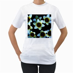 Light Blue Flowers On A Black Background Women s T Shirt (white)