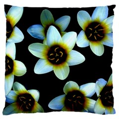 Light Blue Flowers On A Black Background Large Flano Cushion Cases (Two Sides)  by Costasonlineshop