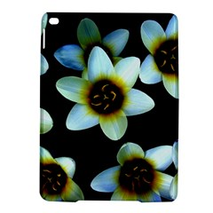 Light Blue Flowers On A Black Background Ipad Air 2 Hardshell Cases by Costasonlineshop