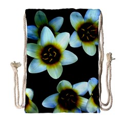Light Blue Flowers On A Black Background Drawstring Bag (large) by Costasonlineshop