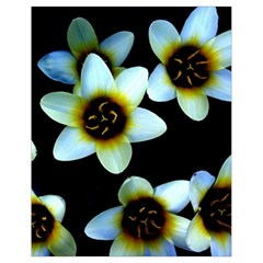 Light Blue Flowers On A Black Background Drawstring Bag (small)