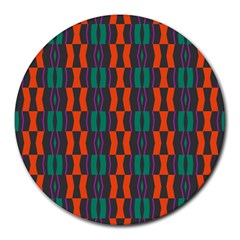 Green Orange Shapes Pattern 			round Mousepad by LalyLauraFLM