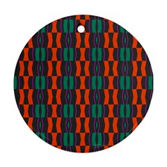 Green Orange Shapes Pattern 			ornament (round) by LalyLauraFLM