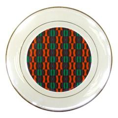 Green Orange Shapes Pattern porcelain Plate by LalyLauraFLM