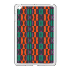 Green Orange Shapes Pattern 			apple Ipad Mini Case (white) by LalyLauraFLM
