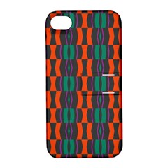 Green Orange Shapes Pattern 			apple Iphone 4/4s Hardshell Case With Stand by LalyLauraFLM