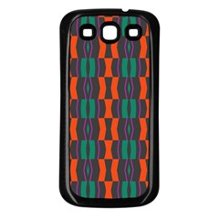 Green Orange Shapes Pattern 			samsung Galaxy S3 Back Case (black) by LalyLauraFLM
