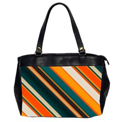 Diagonal Stripes In Retro Colors Oversize Office Handbag (2 Sides) by LalyLauraFLM