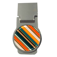 Diagonal Stripes In Retro Colors 			money Clip (round) by LalyLauraFLM