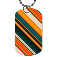 Diagonal Stripes In Retro Colors 			dog Tag (one Side) by LalyLauraFLM