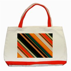 Diagonal Stripes In Retro Colors classic Tote Bag (red) by LalyLauraFLM