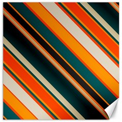 Diagonal Stripes In Retro Colors 			canvas 16  X 16  by LalyLauraFLM