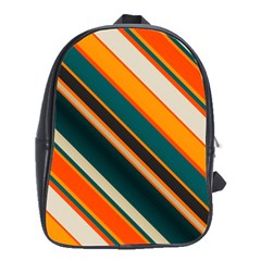 Diagonal Stripes In Retro Colors school Bag (large) by LalyLauraFLM