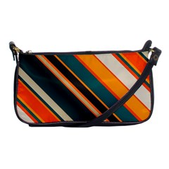 Diagonal Stripes In Retro Colors 			shoulder Clutch Bag by LalyLauraFLM