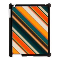 Diagonal Stripes In Retro Colors apple Ipad 3/4 Case (black) by LalyLauraFLM