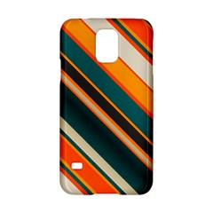 Diagonal Stripes In Retro Colors samsung Galaxy S5 Hardshell Case by LalyLauraFLM